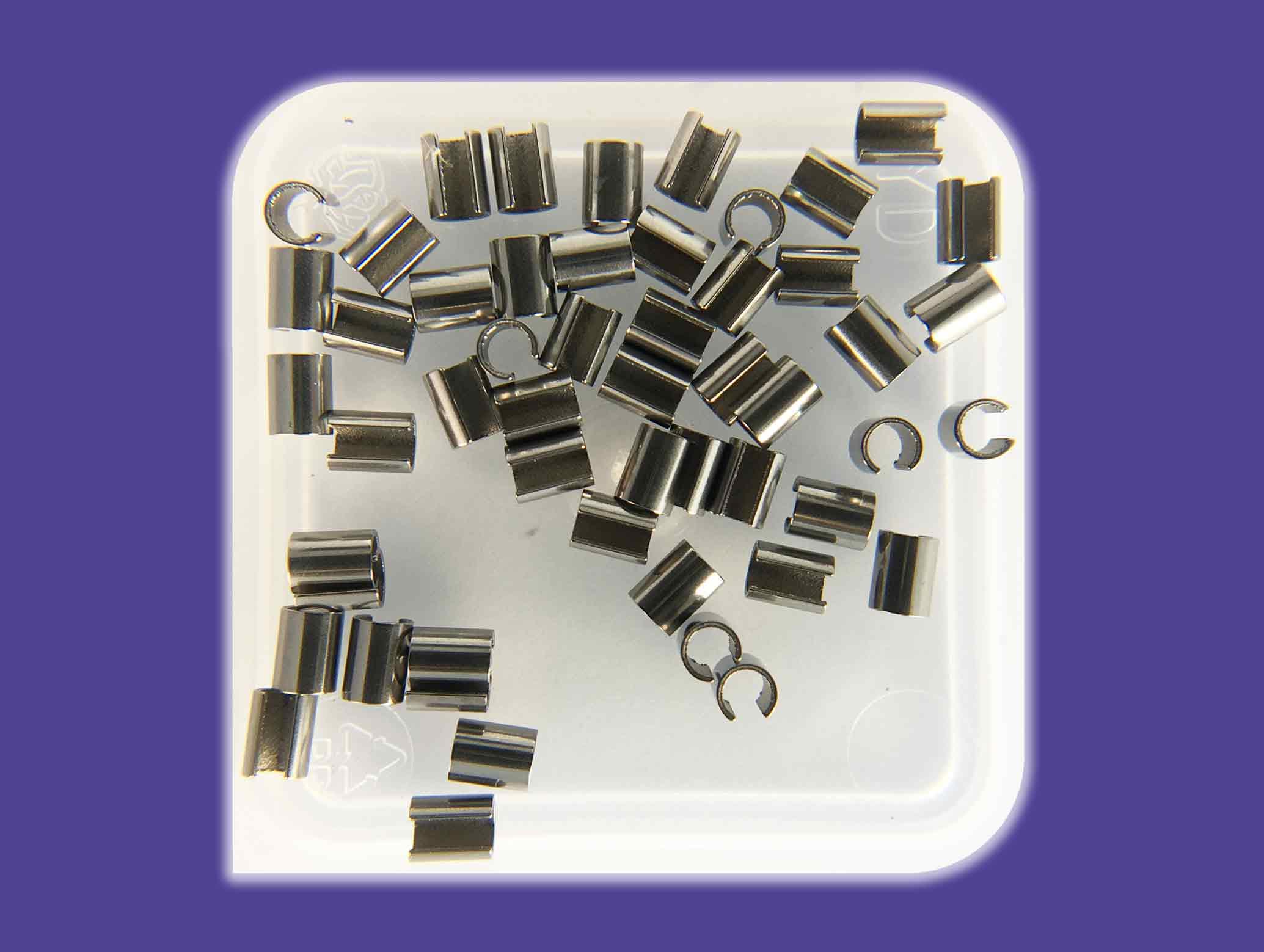 """SMT-Präzisionsröhrchen Coil reactivating clips RC01Innendurchmesser 1,5 mm / 0.06"""" Außendurchmesser 1,9 mm Länge 2,5 mm"""